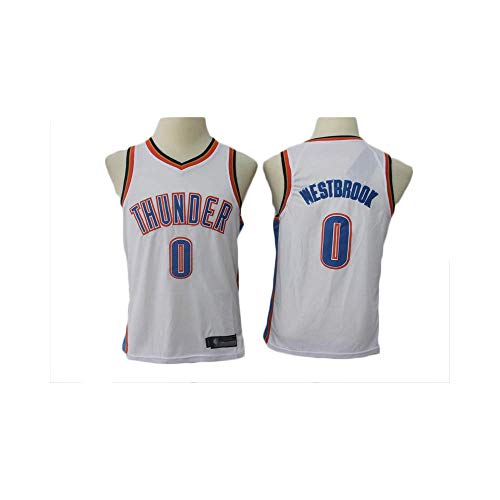 KSWX Camiseta de Baloncesto Estilo Infantil Thunder Team # 0 Traje De Entrenamiento De Baloncesto,White,S