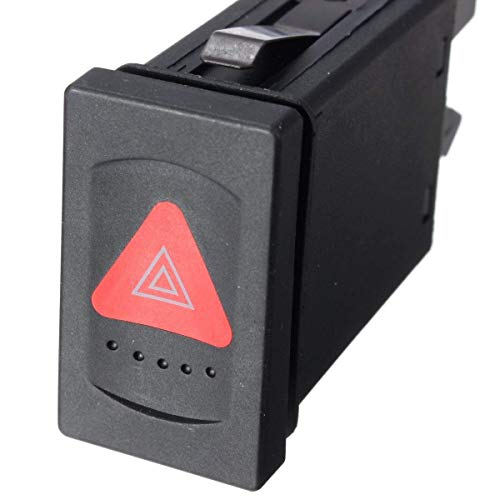 Interruptor de interruptor de alarma de peligro para coche, interruptor de emergencia, ajuste para VW Passat 3B0953235D (negro)