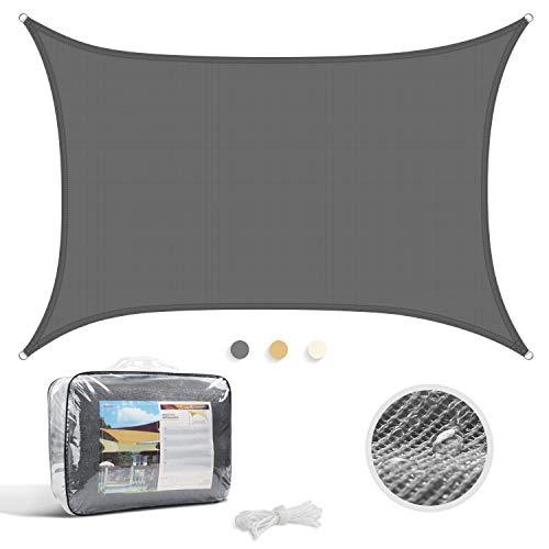 YISSVIC Voile d'ombrage Rectangulaire Imperméable Anti UV pour Jardin et Terrasse (3x4, Gris)