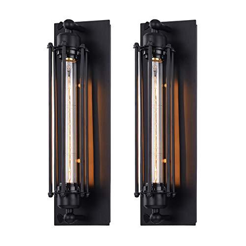 Pauwer Lámparas de Pared Metálicos Vintage Retro Apliques de Pared Interior para la Casa, Bar, Restaurantes, Cafetería, Club Decoración [Clase de eficiencia energética A+] (2 x Lámpara de Pared)