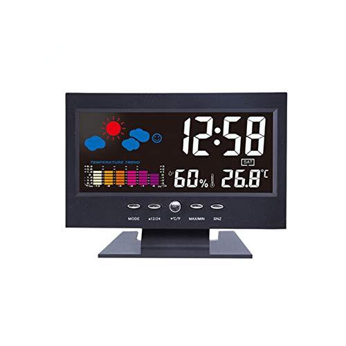 WMC Farbige Digital-Temperatur, Feuchtigkeit Uhr Thermometer Hygrometer Wettervorhersage Vioce-Activated-Hintergrundbeleuchtung Indoor Elektronische Thermometer und Hygrometer
