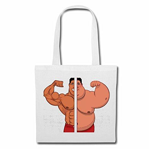 Tasche Umhängetasche ABNEHMEN DIÄT Kalorien Bodybuilding Gym KRAFTTRAINING FITNESSSTUDIO Muskelaufbau NAHRUNGSERGÄNZUNG Gewichtheben Bodybuilder Einkaufstasche Schulbeutel Turnbeutel in Weiß