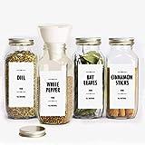 100 Minimalist Spice Labels, Modern Kitchen Storage Label, Printed pantry stickers + 13 Blanks to write-on