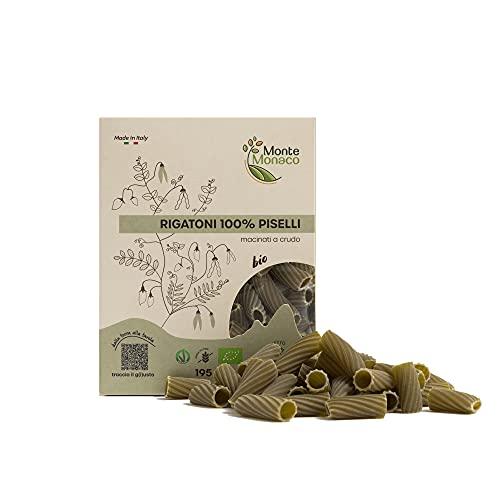 Monte Monaco – Pasta di legumi 100% Farina di Piselli Biologica, pasta proteica e naturalmente senza glutine, 3 monodose da 65gr, 2 x 195gr (RIGATONI)