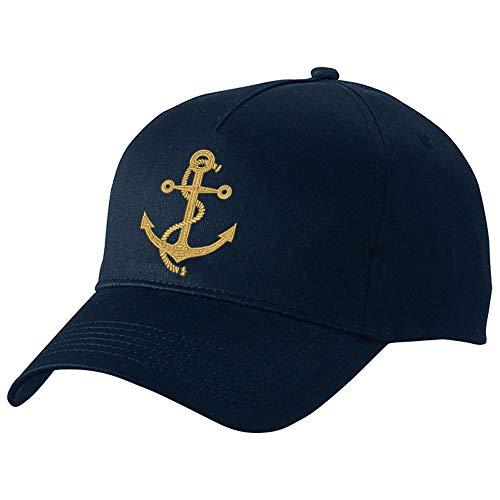 Nashville print factory Basecap Bestickt mit Motiv Anker in Gold Stickerei Captain Kapitän Boot Mütze Cappy (Navy)