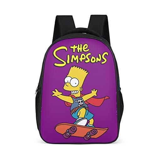 Kleinkind Jungen Mädchen Schultasche The Simpsons Skateboarding Junge Kinderrucksack Rucksäcke Große Backpack Tagesrucksack mit Breiten und Bequemen Gurten Bright Gray OneSize