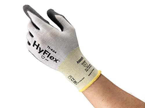 Ansell HyFlex 11-624 Arbeitshandschuhe aus Dyneema, Hoher Schnittschutz und Ausgezeichnete Flexibilität, PU-Beschichtung für Sicheren Griff, Waschbar, Größe 9/L (12 Paires)