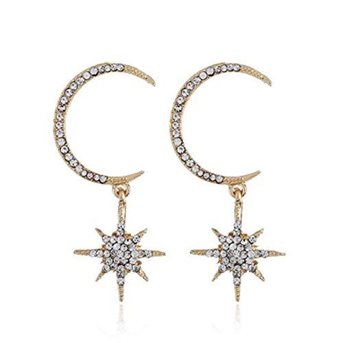 DBSUFV Pendientes de moda Pendiente de pentagrama de estrella Luna Mujer Pendientes de gota grandes Accesorios de joyería dorada Sol