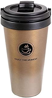 Octto Classic 17oz Thermos Coffee Cup, Coffee Mug with Quick Seal Spill Stopper, Reusable Eco-friendly Coffee Cup,Double Stainless Steel Matte Texture, No Scald Hand. (Gold)