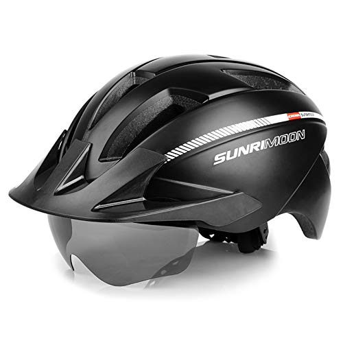 SUNRIMOON Adult Bike Helmet with Rechargeable USB Light, Road & Mountain Bicycle Helmet with Magnetic Goggles & Detachable Visor Adjustable Size for Men/Women, 22.44-24.41 Inches - Black
