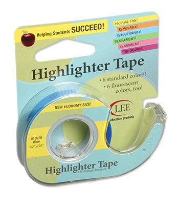 Indefinitely 10 Pack LEE PRODUCTS COMPANY Fashion BLUE REMOVABLE HIGHLIGHTER TAPE
