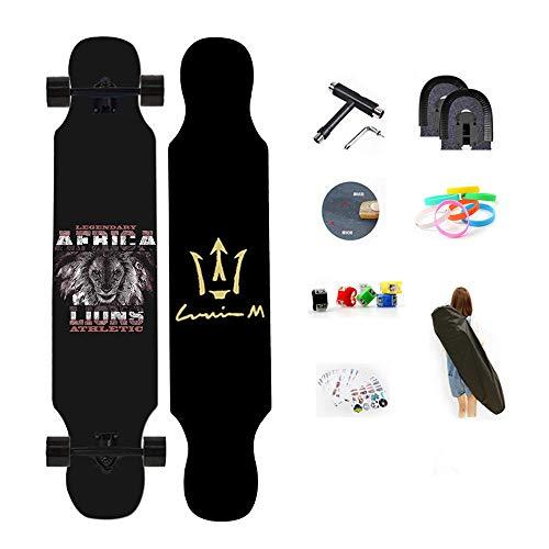 WRISCG Longboard Multicolor monopatín 107x25cm Tabla Completa, Drop-Through Freeride Skate Cruiser Boards, Arce de 8 Capas, Rodamientos ABEC Alta velicidad, Superficie Antideslizante,E