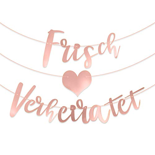 Frisch Verheiratet Girlande Just Married Girlande Banner Wimpelkette auf Deutsch Hochzeitsgirlande Dekoration für Hochzeitszeremonie Fotorequisiten Brautdusche Junggesellinnenabschied Wedding Deko