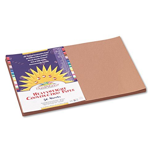 SunWorks 6907 Construction Paper, 58 lbs, 12 x 18, Light Brown, 50 Sheets/Pack