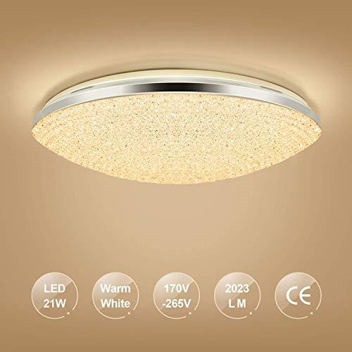 LED Lámpara De Techo Plafon Led Superficie Moderna 21W Redondo Blanco Cálido 3200K 2023 LM Lampara Habitacion Techo Para Sala De estar, Dormitorio, Comedor, Salon