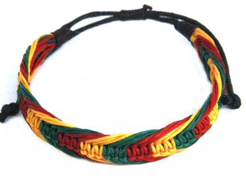 Rasta Bracelet Cotton Handmade Reggae Jamaican Jewelry Boho (S4678)