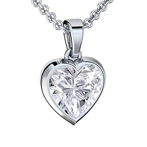 Heart Necklace for Women *I Love You Gift Box for her Jewellery Sterling Silver 925 Zirconia Gem Box Romantic Gifts for Girlfriend Birthday Pendant Womens Necklaces Ideas Gift Set