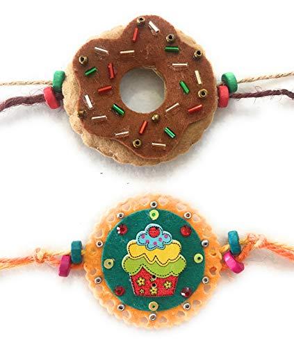 Kalacaree: Cup Cake & Doughnut Combo de 2 Rakhi para niños