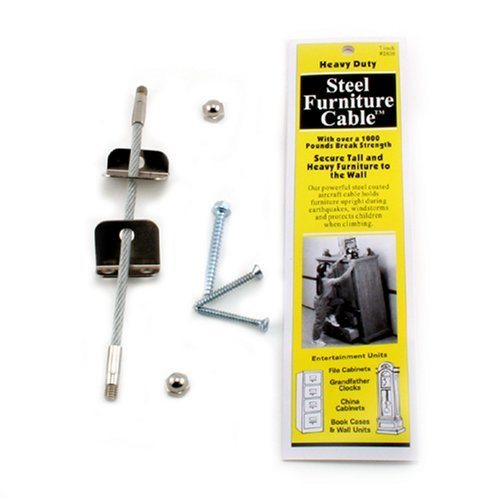Quakehold! 2830 Furniture Cable, 7-Inch (4 Pack)