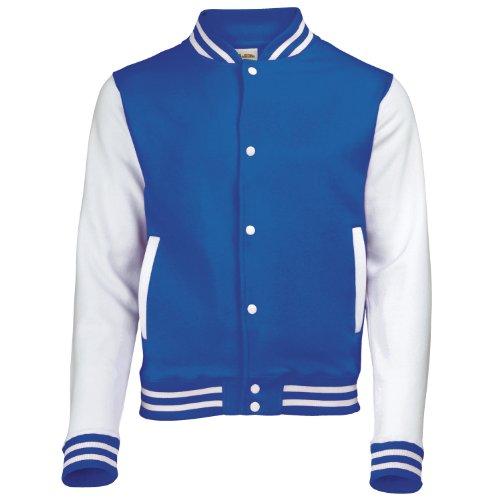 AWDis Hoods Big Boys' Varsity Letterman Jacket Royal Blue / White 12 to 13 Years