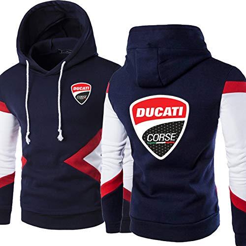 CSHASHA Herren Hoodies Pullover - Ducati Gedruckt Farbe Matching Mit Kapuze Casual Unisex Langarm Sweatshirts Jacke - Teen Geschenk Navy Blue-XX-Large