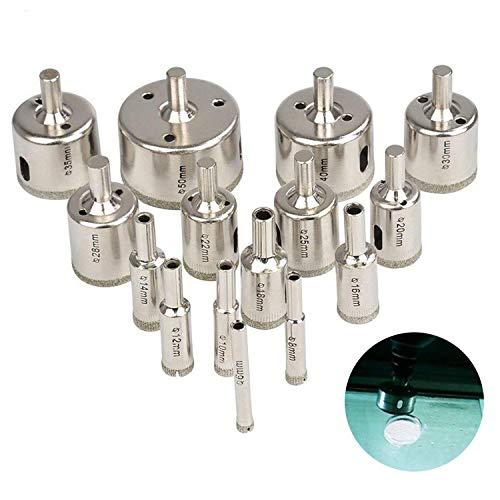 Oukaning 15 Juego de 12 brocas de acero inoxidable para sierra de corona de metal duro 50 mm