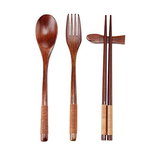 Ecloud Shop® Geschirrset aus Naturholz, 5-teilig (1 Löffel, 1 Essstäbchen, 1 Gabel, 1 Essstäbchenhalter, 1 Geschirrbeutel, japanischer Stil, blau-rotes Muster)