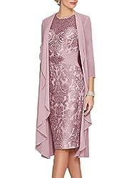 Lilac Gray Lace  Dress With Rhinestone Belt & Chiffon Jacket