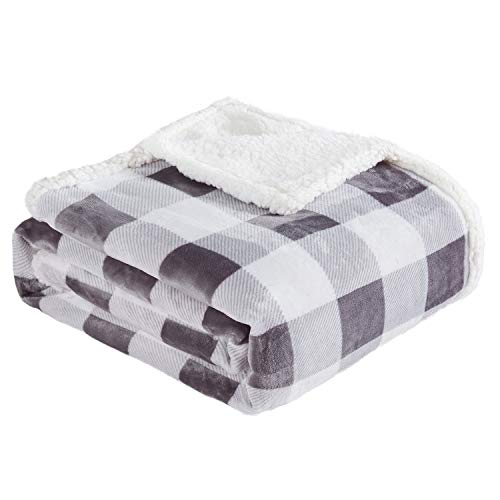 """Touchat Sherpa Plaid Throw Blanket, Fuzzy Fluffy Soft Cozy Blanket, Twin Size Plush Fleece Flannel Plush Microfiber Blanket for Couch Bed Sofa (60"""" X 70"""", Plaid Grey)"""