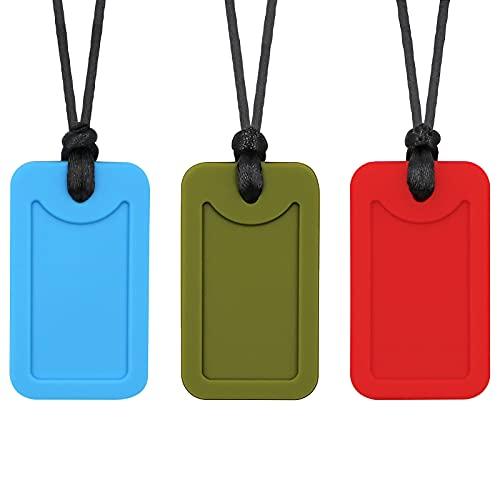 Collar para masticar con etiquetas de perro, 3 unidades, para niños, adultos, niños y niñas - Colgante de silicona para masticar autismo, TDAH, morder y dentición para niños pequeños