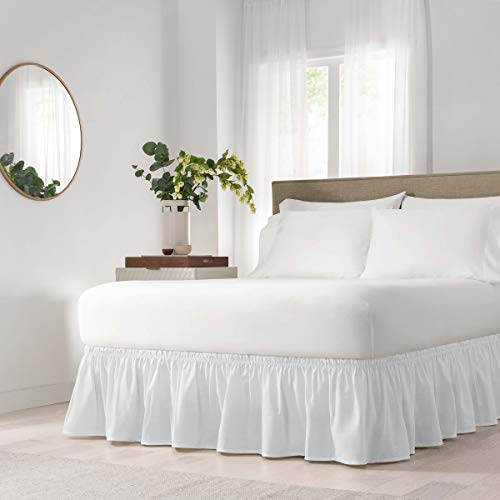 Easy Fit Solid Wrap Around Easy On/Off Dust Ruffle 18-Inch Drop Bedskirt, Twin/Full, White