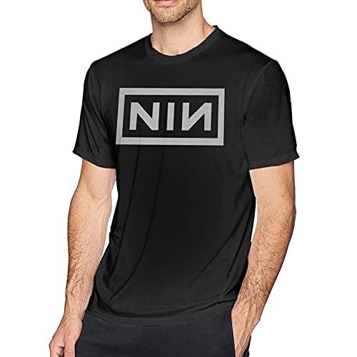 DJNGN Camiseta de Manga Corta con Cuello Redondo y Logo de N-I-N para Hombre
