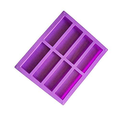 styleinside Molde rectangular de silicona de 8 cavidades para hornear chocolate, molde de jabón para cubitos de hielo
