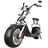 Fat Tire Scooter for Adults Electric 30mph Powerful Up 2500W Electric Scooters with USB Output Port citycoco Scooter with seat Commuter Scooter Electric Black