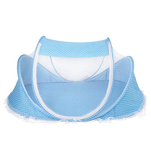 Portable Baby Travel Net, Folding Mosquito Net Anti-Bug Crib Cradle Tent Bed Crib Newborn Cots Insect Shield Netting, 110 x 65 x 60cm(Blue)