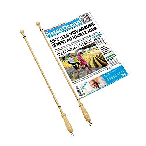 Decoho Leesboek van hout voor kranten – lengte 80 cm – accessoires krantenruimte