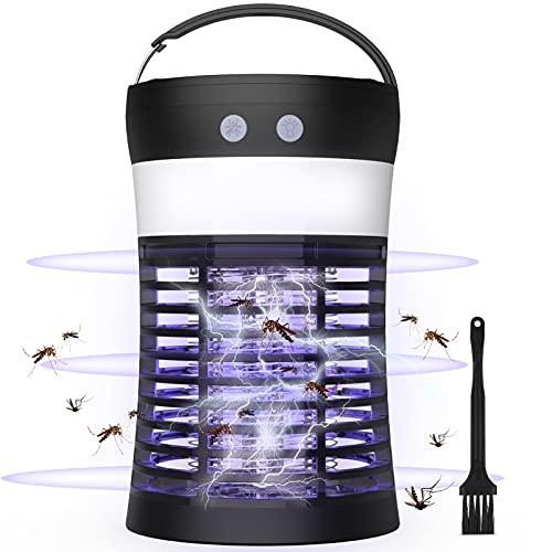 BASEIN Lámpara UV Mosquito Killer, Luz Solar Bug Zapper, 3 en 1 Portátil SOS Camping Linterna Mosquito Zapper, Solar y USB Recargable, 1800mAh, IP65 Impermeable