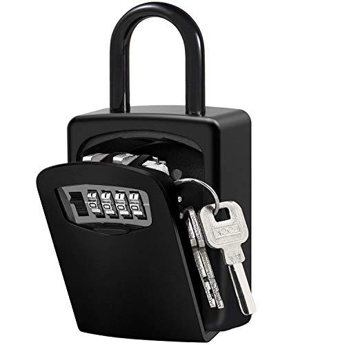 Caja de Cerradura con Llave Montado en la Pared Clave Caja con Candado de 4 Dígitos Combinación de Bloqueo Exterior e Interior Seguridad Llave Storage (Negro)