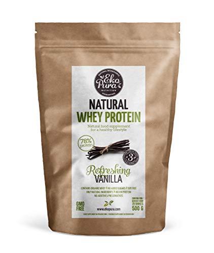 Natural Whey Protein - Refreshing Vanilla - 78% Proteína - Proteína de suero Orgánico - Sin Aditivos - Libre de GMO - Sin Soja - 500g 🔥