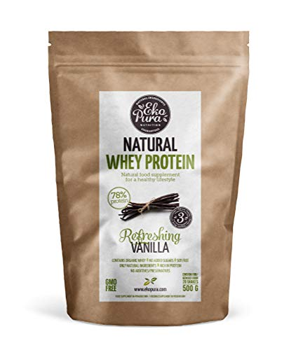 Natural Whey Protein - Vanilla - 78% Protein, Organic Whey from Grass Fed Cows - Free of Nasties - 500g