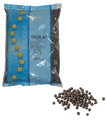 Pavone kg 1 Gocce di Cioccolato Fondente per Dolci Pasticceria E Prodotti da Forno