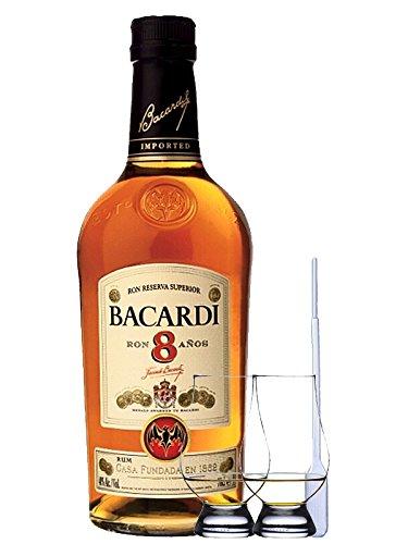 Bacardi Reserva Superior 8 Jahre Karibik 0,7 Liter + 2 Glencairn Gläser + Einwegpipette 1 Stück