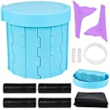 Portable Folding Toilet Washable ABS Plastic Camping Toilet Car Toilet Female Urination Funnel Set, Car Emergency Toilet Car Commode Camping Toilet Rubbish Bin for Traffic Jam, Camping, Travel