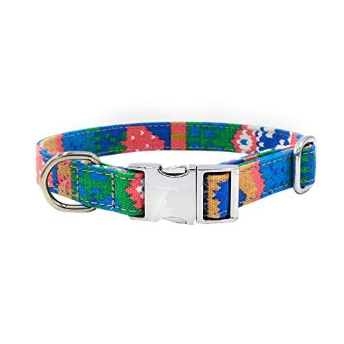 Sylar Collares para Perros, Collares para Gatos,Collares De Adiestramiento Ajustable, Collar Mascota Estampado Bohemio, Collares De Perro Cómodos Ajustables Cuello De Perro Acolchado Pequeño