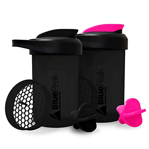 BluePeak Protein Shaker Bottle 20-Ounce, 2-Pack, with Dual Mixing Technology. BPA Free, Shaker Balls & Mixing Grids Included (Double Black -Pink)