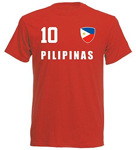 aprom philippinen Kinder T-Shirt Trikot ALL-10 Rot - WM 2018 Fußball (164)