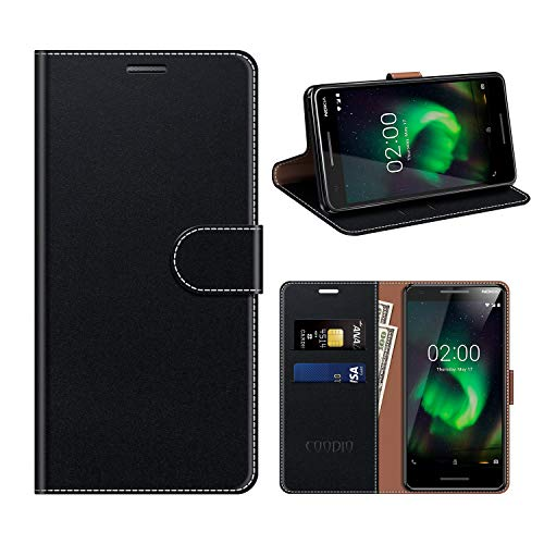 COODIO Custodia Nokia 2 2018, Custodia in Pelle Rugged Nokia 2.1, Custodia Portafoglio Cover Porta Carte Chiusura Magnetica per Nokia 2.1 / Nokia 2 2018, Nero