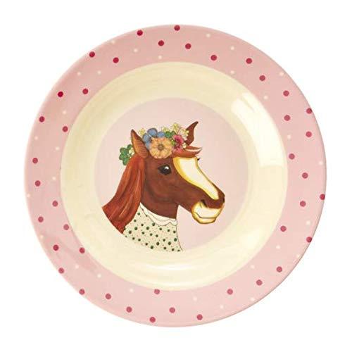 Rice Kinderteller tief, Durchmesser 20cm, mit süßem Tierprint Pferd aus der Serie Animal Farm rosa
