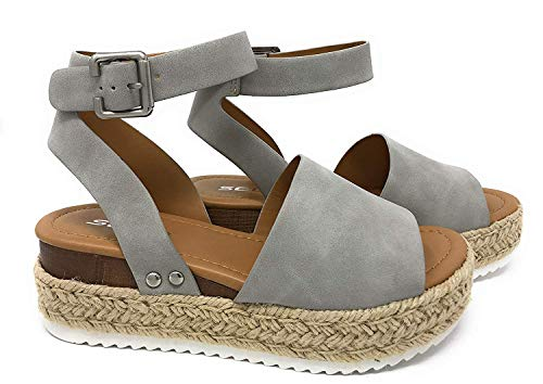 Soda Topic Grey Casual Espadrilles Trim Rubber Sole Flatform Studded Wedge Buckle Ankle Strap Open Toe (8)
