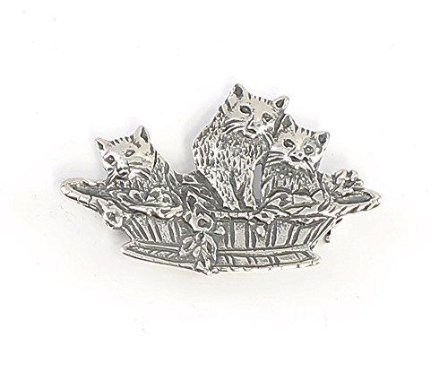 925er Silber Brosche/Anhänger Katzen im Korb